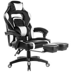 Merax High-Back Racing Home Office Chair, Ergonomic Gaming Chair with Footrest, PU Leather Swivel Computer Home Office Chair Incluing Headrest and Lumbar Support, White