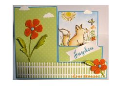 Side Step card.  Fox stamp is Penny Black and colored with Distress inks.  Grass and flower background is Hero Arts.  Fence die is Impression Obsession.  Stems and leaves are Tim Holt.  Flowers were cut from felt with Spellbinders die.