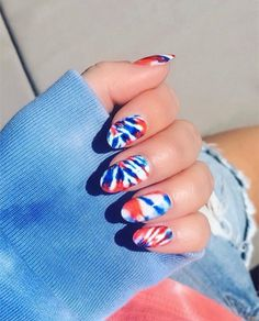 31 Fun Things to Do With Your Nails This Summer 31 Fun Things to Do With Your Nails This Summer Tie dye Fourth of July nails<br> Slime green nails, anyone? Tie Dye Nails, Cute Acrylic Nails, Cute Nails, Pretty Nails, Nail Art Designs, New Nail Trends, Patriotic Nails, Flag Nails, Acrylic Nails