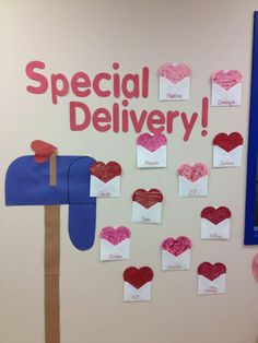 """Valentine's day classroom doors: """"Special delivery"""" mail box, letter for each st. - Valentine's day classroom doors: """"Special delivery"""" mail box, letter for each student - Diy Classroom Decorations, Classroom Crafts, Valentines Day Decorations, Classroom Activities, Valentines Bricolage, Valentines Diy, Valentines Day Bulletin Board, Classroom Walls, Blog"""