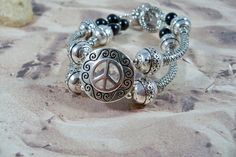 Womens Silver Bracelet Peace Sign Black Beads by babbleon on Etsy, $25.00