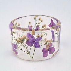 Purple and White Botanical Resin Bangle  by SpottedDogAsheville