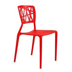 Stackable Outdoor Patio Side Chair in Red UV Resistant Plastic