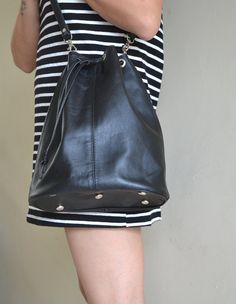 Peny Leather Drawstring Bucket bag handmade to by goldenponies, $68.00