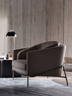 Fil Noir armchair by Minotti — Minotti Furniture, Sofa Furniture, Design Furniture, Chair Design, Italian Furniture Brands, Sofa Colors, Single Sofa, Colorful Furniture, Sofas