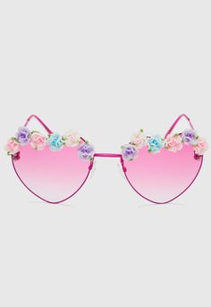 Heart Floral Sunglasses - Pink, heart sunglasses! Can't go wrong with these! Pink sunglasses