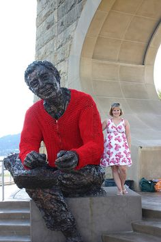 Yarnbombing - a knit cardigan sweater for this statue of Mister Rogers, by Alicia954 on Flickr
