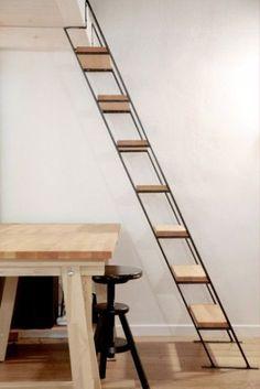 minimalist industrial wood and metal ladder