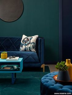 Aqua is at the front edge of trending interior colours at the moment for walls, painted furniture, accents and even fabrics. Blue Green Bedrooms, Blue And Green Living Room, Navy Living Rooms, Dark Green Walls, Teal Walls, Green Rooms, Bedroom Green, Living Room Paint, Living Room Sofa
