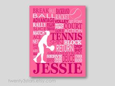 Girl's Tennis Gift. Great for any Tennis Player! Tennis Art Print.