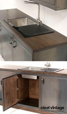 Discover the Workshop Kitchen Range by Steel Vintage. Welded Furniture, Steel Furniture, Cool Furniture, Industrial Interiors, Industrial Furniture, Vintage Kitchen Cabinets, Steel Cabinet, Solid Doors, Open Face