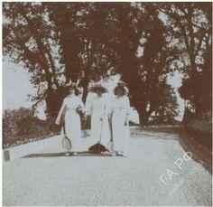 "The Grand Duchesses Olga and Tatiana with Anna Alexandrovna Vyrubova in the grounds of Livadia in 1912. ""AL"""