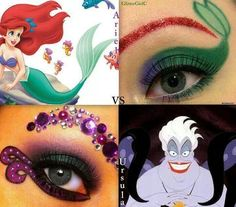 Ariel [as a mermaid] & Ursula (Make-Up by GlitterGirlC Mermaid Fantasy Makeup, Little Mermaid Makeup, Little Mermaid Parties, The Little Mermaid, Disney Inspired Makeup, Disney Makeup, Ursula Makeup, Helloween Make Up, Mermaid Eyes