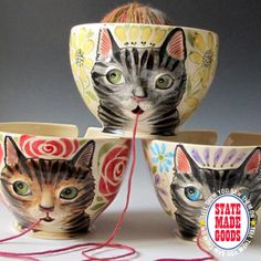 Yarn Bowl, Maid of Clay, BURBANK, CA - Cats love yarn and now yarn loves cats right back. These amazingly detailed handmade ceramic bowls corral your yarn and dispense just what you need right through kitty's little puss. You choose the coloring and details then sit back while Felicia works her magic! Don't miss her other cool clay creations...  www.etsy.com/shop/MaidOfClay