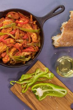 A healthier version of Italian sausage and peppers: Lean chicken tenders with peppers and onions.