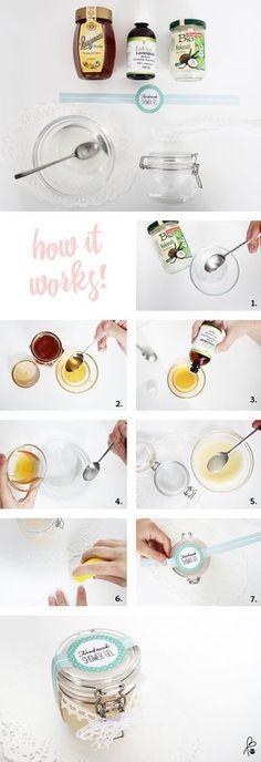 Schöne Geschenkidee. Duschgel selber machen! DIY Duschgel / Lavendelöl / Honig / Kokos mit Etikett