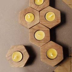 Подсвечники ручной работы. Ярмарка Мастеров - ручная работа. Купить Подсвечники-соты из дуба. Handmade. Коричневый, натуральное дерево, пчелы