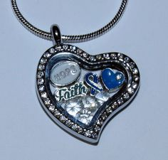 Depression/Mental Health Awareness Locket by PawInspiredCreations Floating Charms, Heart Locket, Lockets, Blue Crystals, Heart Charm, Mental Health, Depression, Just For You, Charmed