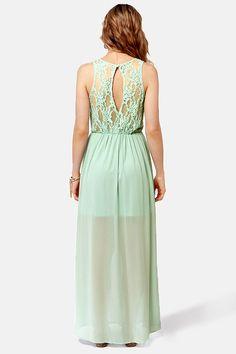 Pretty Sage Green Dress - Backless Dress - Lace Dress - Maxi Dress - $48.00