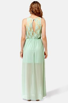 Pretty Sage Green Dress - Backless Dress - Lace Dress - Maxi Dress - $48.00