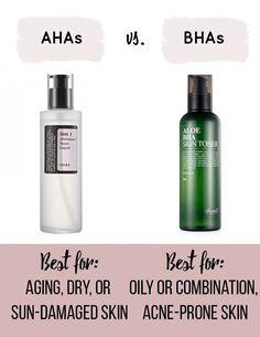Korean Skincare Routine AHAs vs BHAs Acne Skin, Acne Prone Skin, Acne Scars, Acne Face, Face Facial, Beauty Care, Beauty Skin, Face Beauty, Lemy Beauty