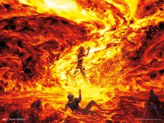 Jaya's Immolating Inferno MtG Art from Dominaria Set by Noah Bradley Fantasy Concept Art, Fantasy Character Design, Dark Fantasy Art, Character Art, Foto Fantasy, Fantasy World, Magic The Gathering, Rpg Cyberpunk, Elemental Powers