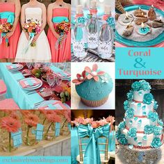 coral-and-turquoise-wedding.jpg (808×808)