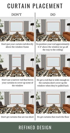 The do's and don'ts of curtain placement. How to hang your curtains the right way. The rules and guidelines to hanging your curtain and curtain rod. curtains THE DO'S + DON'TS OF CURTAIN PLACEMENT Home Staging, Interior Design Guide, Interior Colors, Room Interior, Interior Design For Beginners, Interior Design Curtains, Interior Design Principles, Interior Trim, Home Living Room