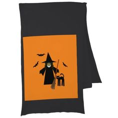Black and Orange Witch Scarf with Black Cat and Bats by www.cheekywitch.com #zazzle #witch #wicca #pagan #halloween