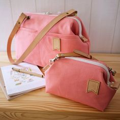 SOLD   Japanese No.8 Canvas Medium Frame Bag   Little Flag :: Soft Peach     Request for stamping ::   1-3 ...