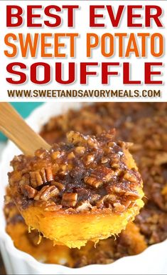 Sweet Potato Souffle Recipe (VIDEO) - Sweet and Savory Meals - - Sweet Potato Souffle is a delicious, rich and creamy side dish. Topped with crunchy, oven roasted pecans and a sprinkle of cinnamon sugar. Sweet Potato Souffle, Sweet Potatoe Pie, Sweet Potatoe Casserole Recipes, Savory Sweet Potato Recipes, Sweet Potato Side Dish, Green Bean Casserole, Mashed Sweet Potatoes, Souffle Recipes, Salads