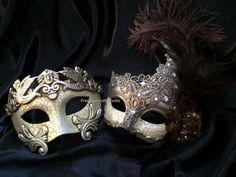 Couple Masquerade mask for man and woman - Brocade lace masquerade mask vs Roman Gladiator Thor mask