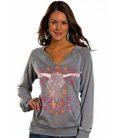 Rock & Roll Cowgirl Juniors Grey Steer Skull Pullover Sweatshirt