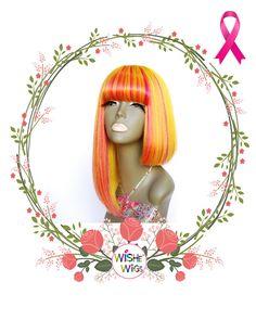Yellow and hot pink color 100%human hair wig - unbalanced cut
