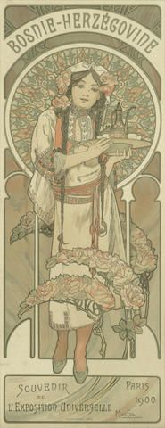 Alphonse Mucha (Czechoslovakian, 1860-1939) 'BOSNIE-HERZEGOVINE; L'EXPOSITION UNIVERSELLE, PARIS, 1900'