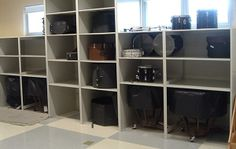 We've worked with hundreds of schools to transform their music departments with custom storage for sheet music, music instruments, and band uniforms. Drums Studio, Drum Room, Drum Music, Room Shelves, Classroom Decor, Music Classroom, Purple Aesthetic, Neon Colors, Home Remodeling