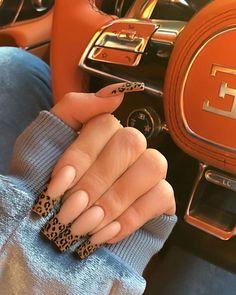 Jenner leopard french nails ❤️ 75 Trendy Nail Designs In 2019 Ongles Kylie Jenner, Kylie Jenner Nails, Coffin Nails Designs Kylie Jenner, Nail Swag, French Nails, French Acrylic Nails, Ongles Forts, Leopard Print Nails, Cheetah Nail Designs