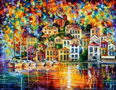 PRODUCT DESCRIPTION      Title: Dream Harbor — PALETTE KNIFE Oil Painting On Canvas    Size:60cm x 50cm (24″x20″)    Condition:Excellent Brand New    Medium:100% hand paintedoil painting on Canvas – Recreation of an older painting    Signature: Signed by the Artist    Frame: Gallery Wraped and Ready to Hang        About this oil painting:    DREAMHARBOR    IMPORTANCE OF ATMOSPHERE    Why is it so important – to have a right background for inspiration and for creation of talented work…