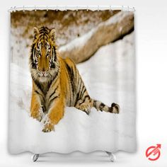 Cheap Tiger Snowy Afternoon Tiger Shower Curtain