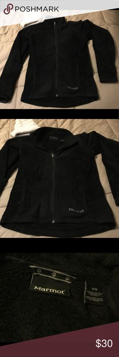 Marmot Black Full Zip Women's Jacket Medium Lots of life left in this great Marmot fleece jacket. It is a Women's and has a fitted fit to it. Color is black and size is Medium. Marmot Jackets & Coats