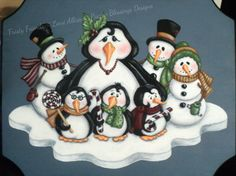 Frosty Friends instructional winter holiday painting pattern packet instant download