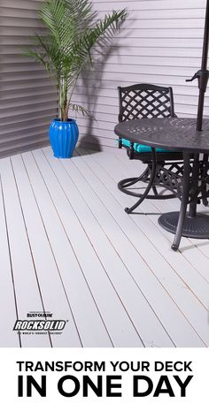 Why put off until tomorrow what you could get done today? RockSolid Deck in One dramatically reduces the time you'll spend resurfacing your deck. And in addition to saving time, you'll get long-lasting protection and superior weather resistance to ensure you keep the deck you desire or the perfect patio! Just in time for all the summer fun you'll have on it! #homeimprovement #rocksolid #summerprojects #protection Painted Deck Floors, Backyard Projects, Diy Projects, Cool Deck, Saving Time, Outdoor Tables, Outdoor Decor, Deck Decorating, Back Deck