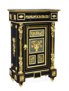 A Napoleon III style gilt bronze mounted and inlaid cabinet 20th century