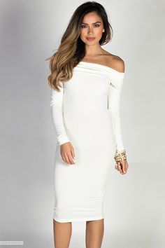 Midi Length Off Shoulder Bodycon Ivory White Dress with Sleeves