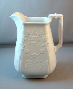 White Ironstone Hanging Basket Shape Tall Pitcher / Ewer - c. Shades Of White, Blue And White, Cream Dinnerware, White Dishes, White China, Hanging Baskets, Earthenware, Teapot, Things To Buy