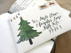 Printable Holiday Mail Art Envelope Template | The Postman's Knock. Free calligraphy.