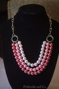 Necklace Pink Glass Pearls Silver Chain by PickleStiksandCo, $32.00