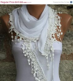 Beautiful White Shawl Scarf