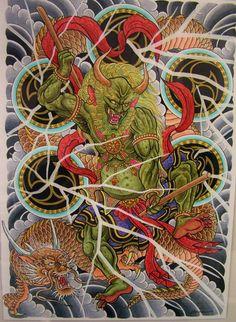 Fujin e Raijin art Gallery Japanese Snake Tattoo, Japanese Tattoo Designs, Raijin Tattoo, Asian Artwork, Totenkopf Tattoos, Japanese Folklore, Traditional Japanese Tattoos, Asian Tattoos, Japan Tattoo