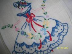 Exquisite Vintage Hand Emb Southern Belle Fringed Hand Towel,Napkin,Cottage Chic
